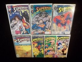 7 Superman Comic Books W/ Man Of Steel #1