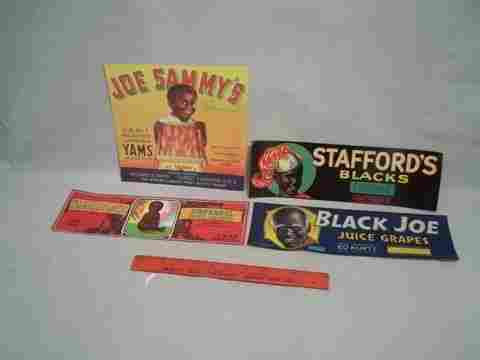 1950s 60s NOS Black Americana Crate labels