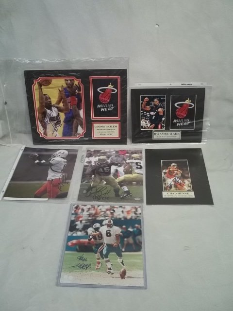 1: Autographed Football, Basketball Photo lot Henne & m