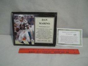 Dan Marino Autographed Plaque W/Mat, COA