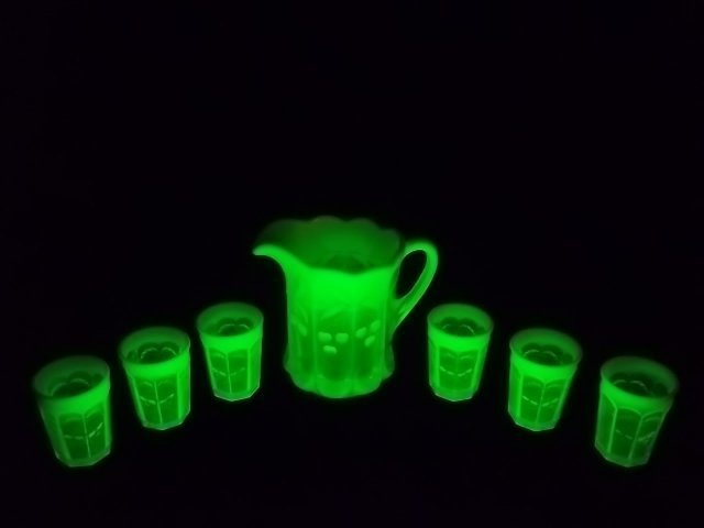 320: Vaseline Cherry Cable Opalescent Pitcher, Glasses