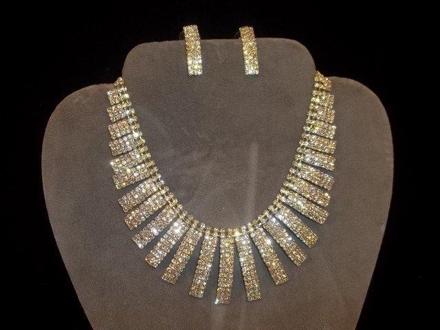 1: Rhinestone Necklace & Earrings