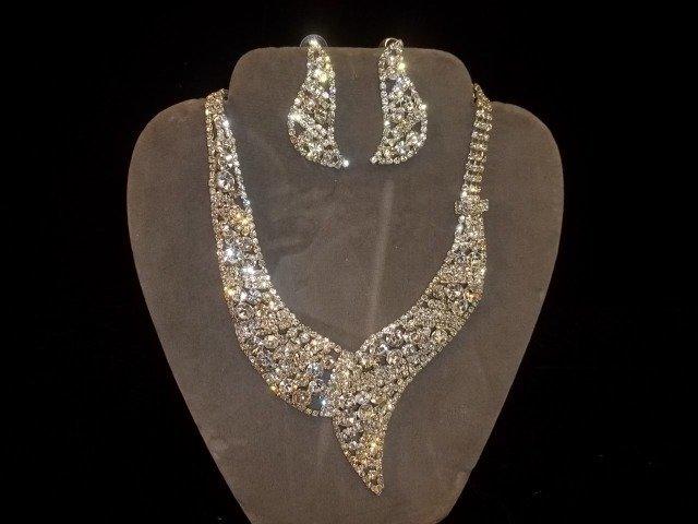 3: Rhinestone Necklace & Earrings