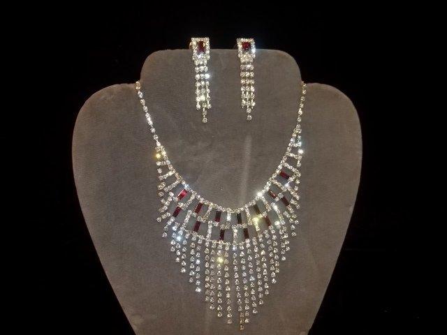 4: Rhinestone Necklace & Earrings