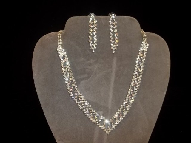 7: Rhinestone Necklace & Earrings