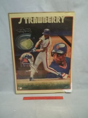 Darryl Strawberry mets Autograph Poster COA