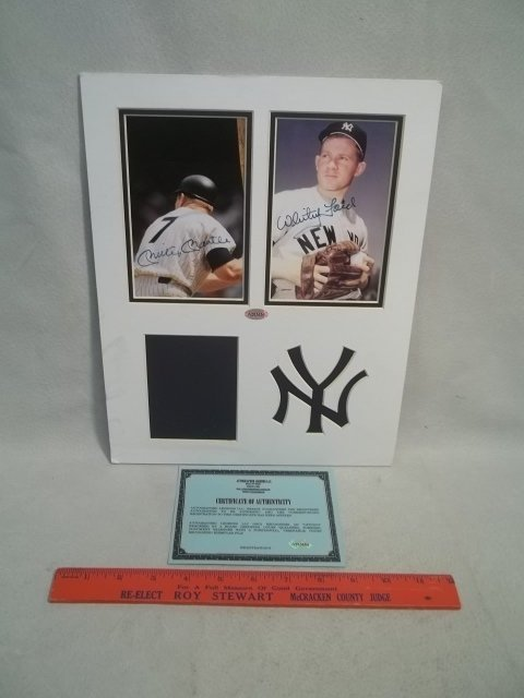 Mickey Mantle Whitey Ford Autograph Photo COA