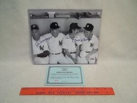Dimaggio Mantle Martin Autograph Photo COA