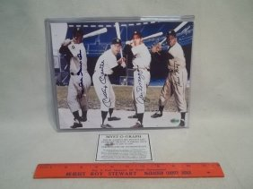 Mantle Dimaggio Mays Snider Autograph Photo COA