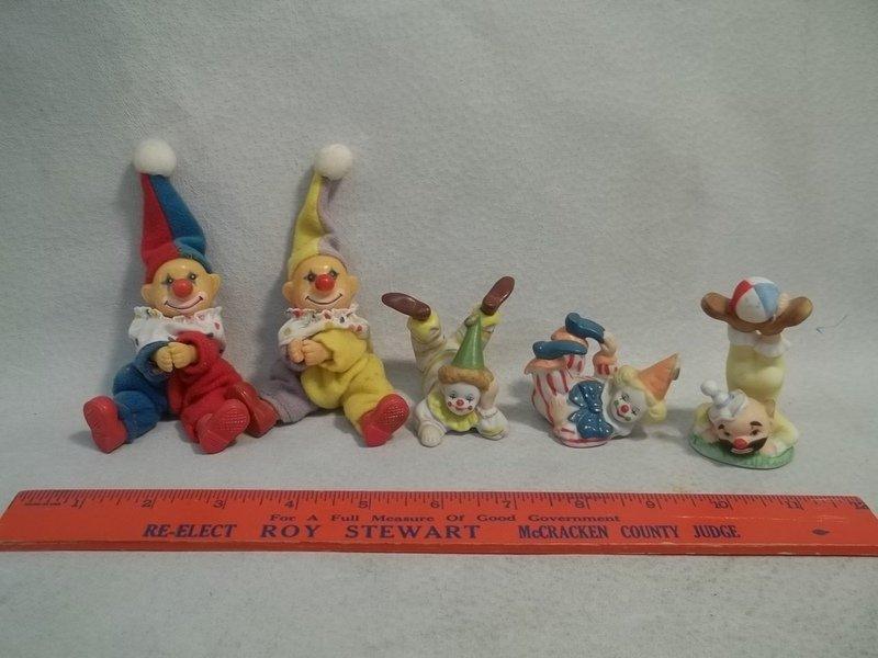 5 Lefton & Vintage Clown Figures