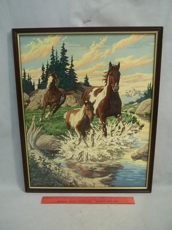 Nice Vintage Paint by Numbers Horse Painting