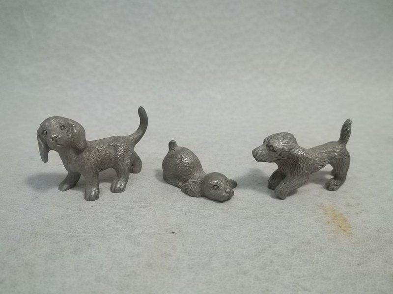 3 Miniature Pewter Dog Figurines
