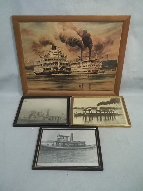 4 Vintage Old Tugboat Pictures/Prints
