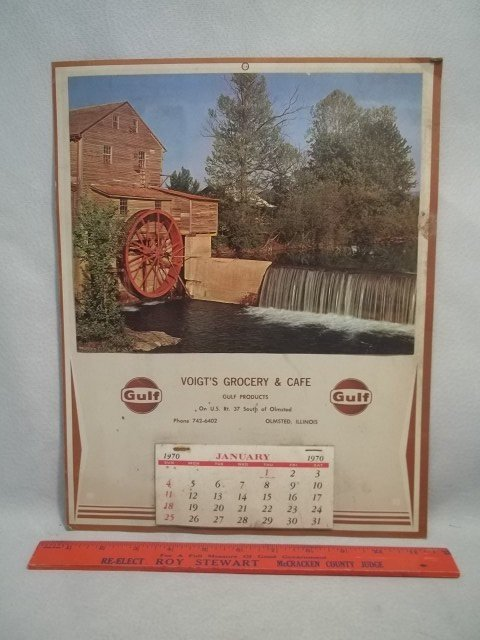 1970 Voigts Grocery Ill Gulf Oil Calender