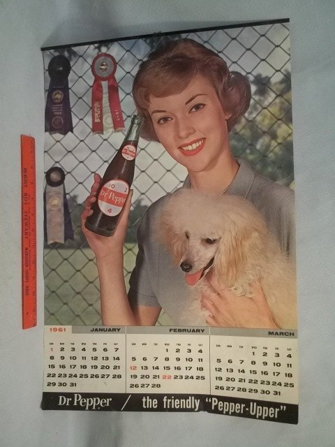 4-Page 1961 Dr Pepper Girl Calender