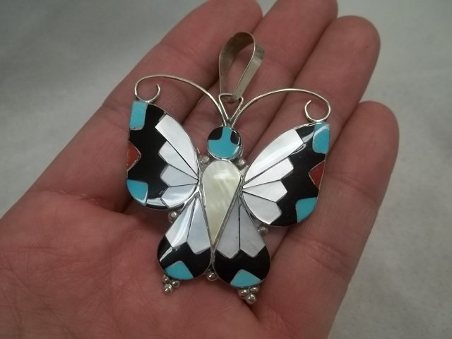 Large Zuni Sterling Butterfly Pendant