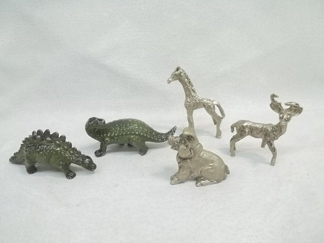 Cast Iron & Pewter Dinosaur Animal Figure Lot