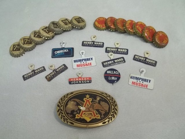 Old Political Pins Caps Buckle Lot Kennedy