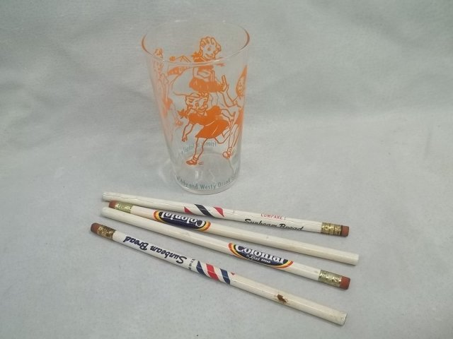 1950s Bread Milk Advertising Pencils & Rare Glass