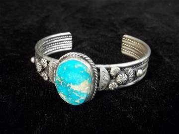 Betty Lee Sterling Kingman Turquiose Bracelet