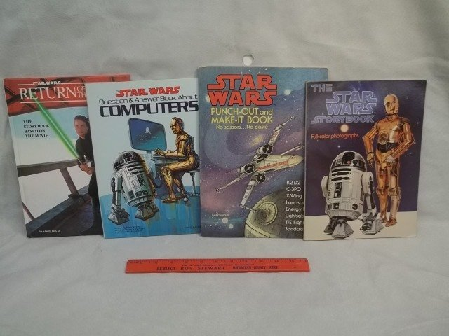 4 Vintage Star Wars Story Books & More Lot