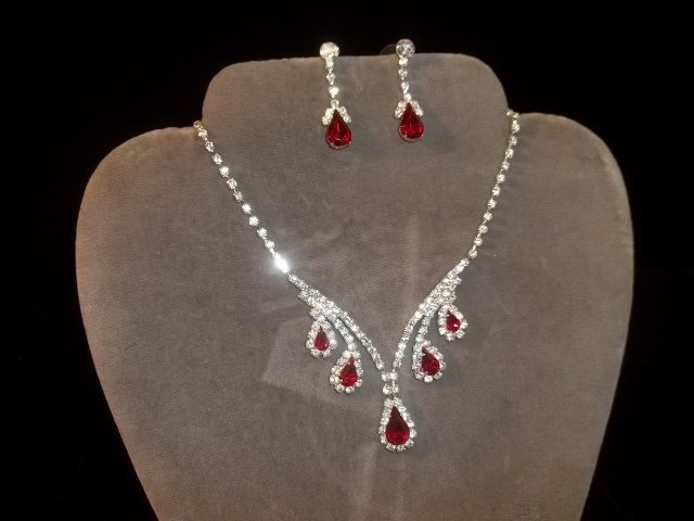 Ruby Red Rhinestone Necklace Earrings