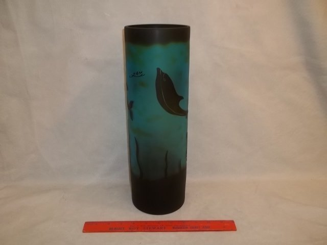 Cobalt Blue Contemporary Galle Dolphin Vase