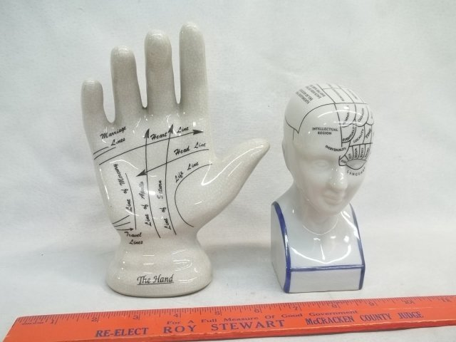 Phrenology Head & Palmistry Hand Lot