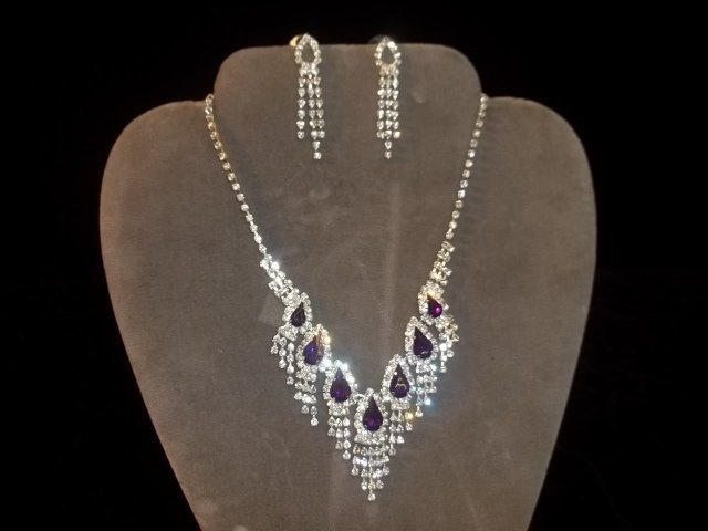 Amethyst Color Rhinestone Necklace & Earrings