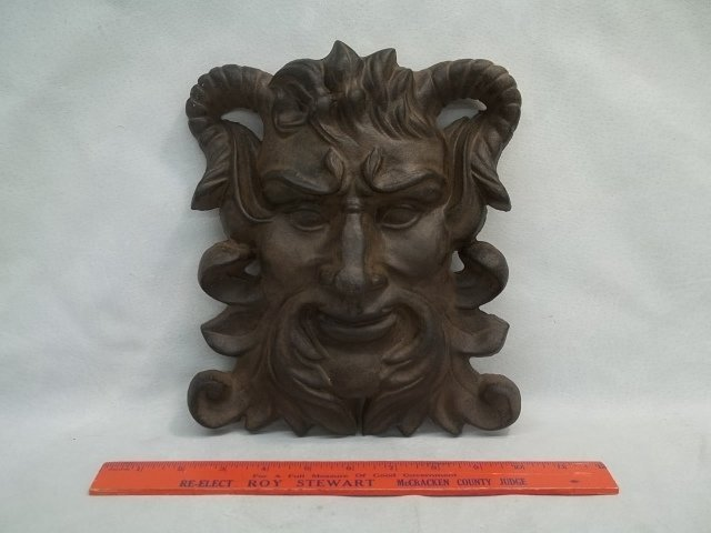 Cast Iron Horned Devil Wall Plaque