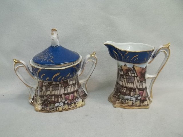 RS Prussia Cream & Sugar Set English Scene