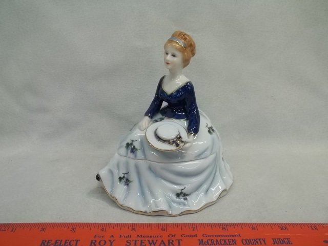 Hand Painted Lady Powder Dish