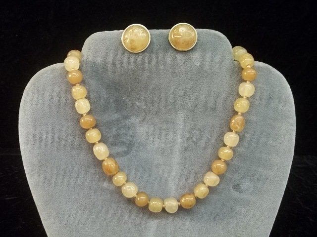 Vintage Designer Vogue Amber Necklace Earrings Set