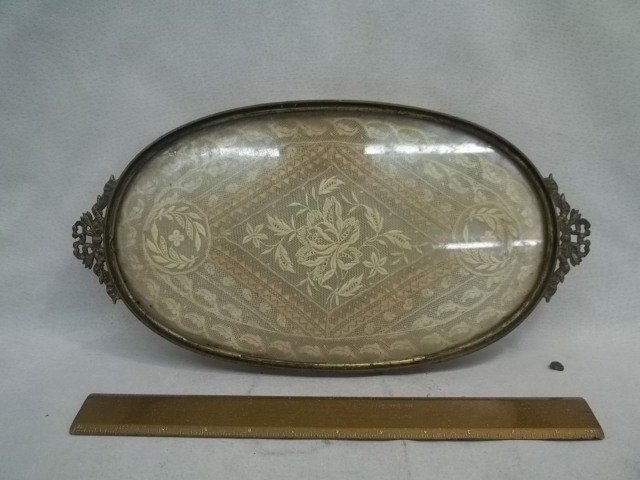 Old Victorian Tray w/ Handmade Doilie