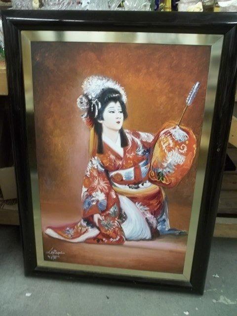32 x 43 oriental gasha painting by Juan Lopetegui