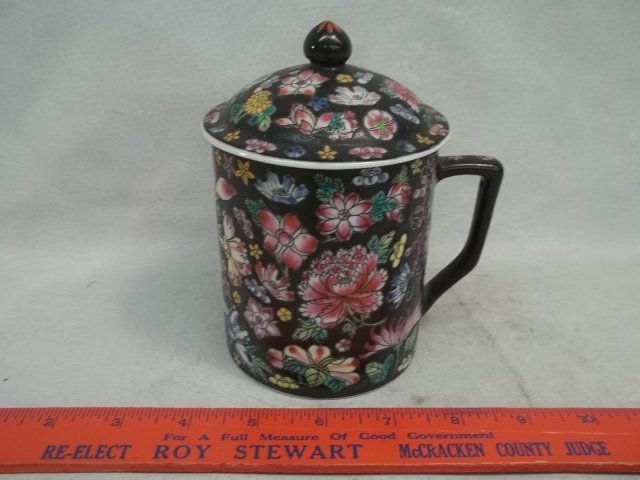 Cup With lid Oriental Enameled
