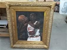 Original Michael Jordan Oil On Canvas Painting 32 x 36