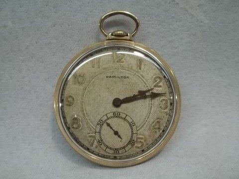 Old Hamilton 17 Jewels 14kt GF Pocket Watch Works