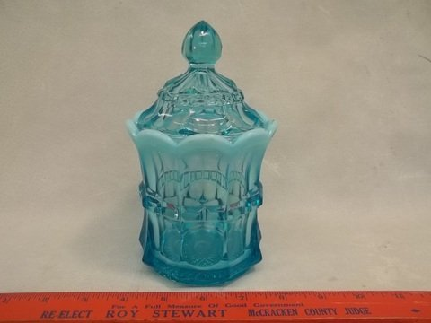 Blue Opalescent Northwood Jar Nice