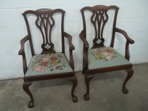 Superbe 2 Old Mahogony Chip N Dale Chairs