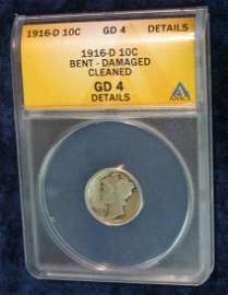 "1435: 1435. 1916 D Mercury Dime. Slabbed by ANACS ""Bent"
