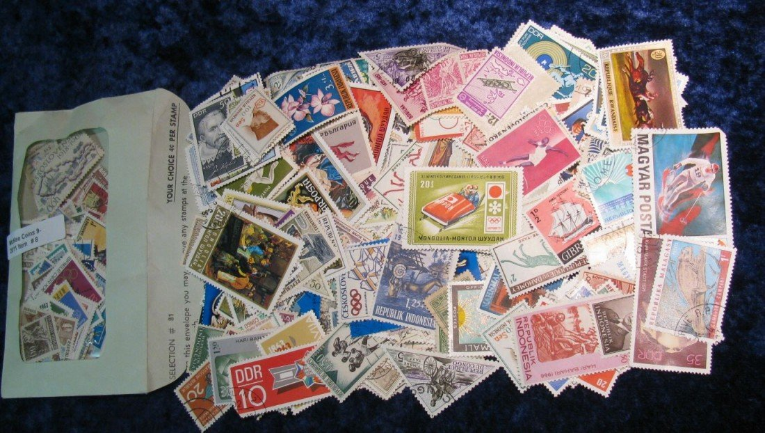 8. Large hoard of approximately 250 Stamps from around