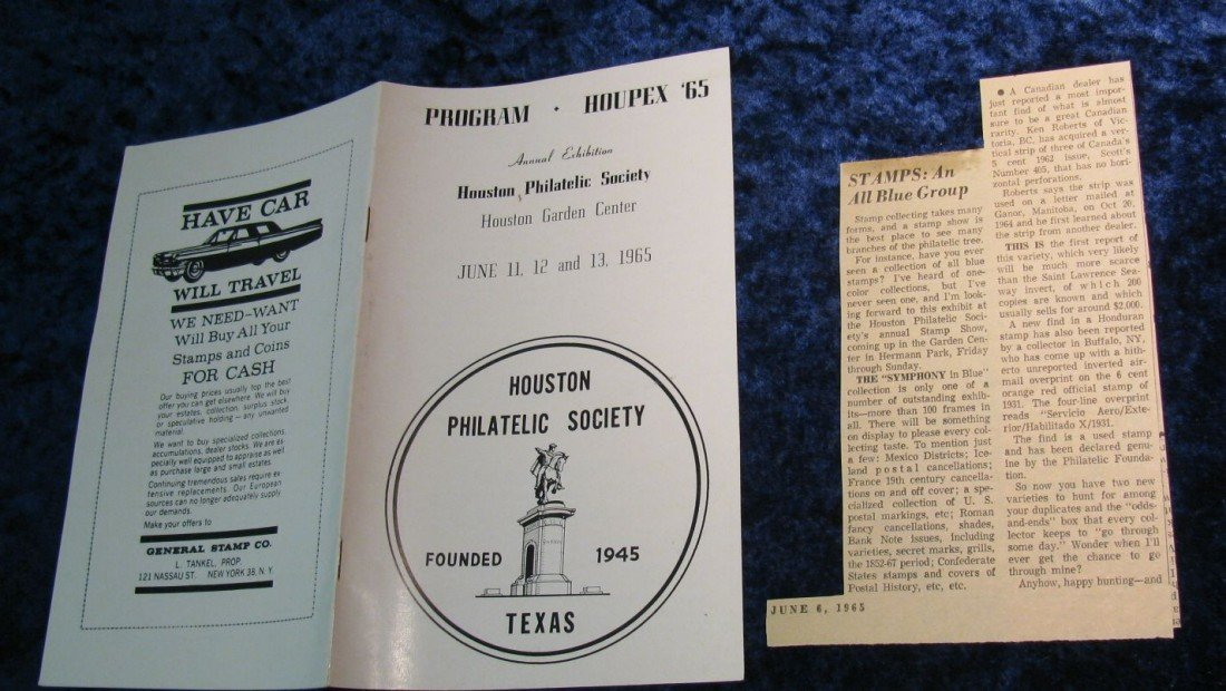 13. June 1965 Houpex '65 Houston Philatelic Society Pro