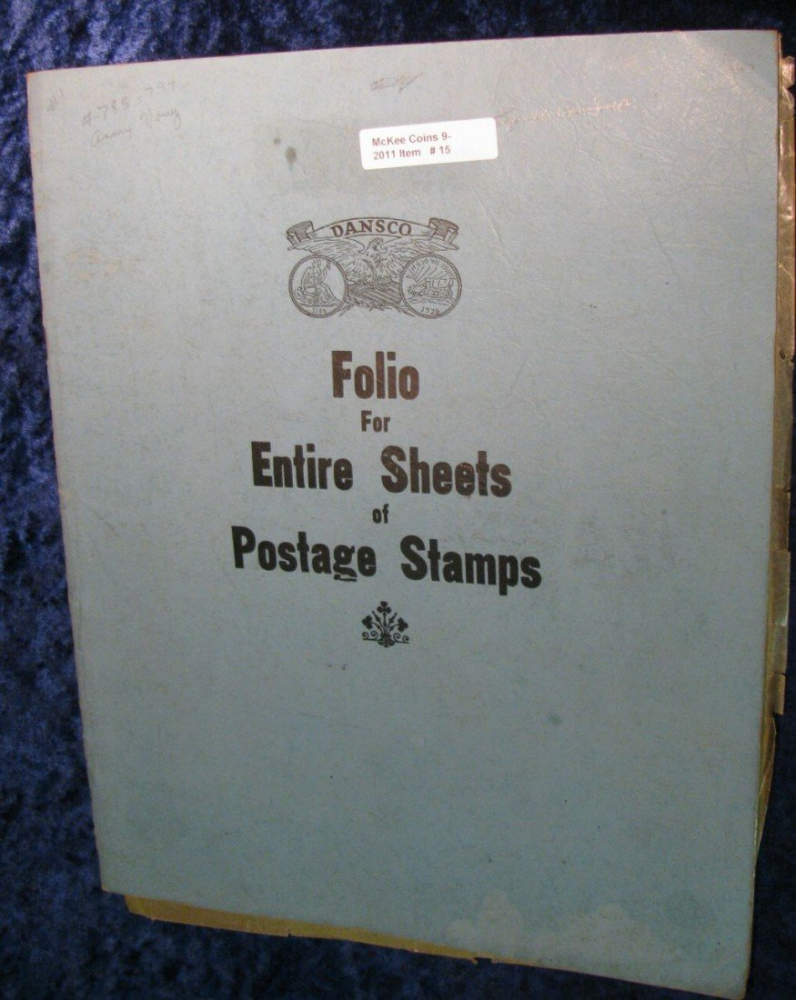 15. Used Dansco Folio for Entire Sheets of Postage Stam