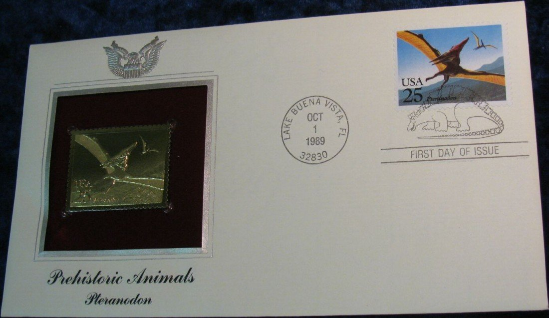 20. 1989 22K Gold Pteranodon Stamp in First Day Cover.