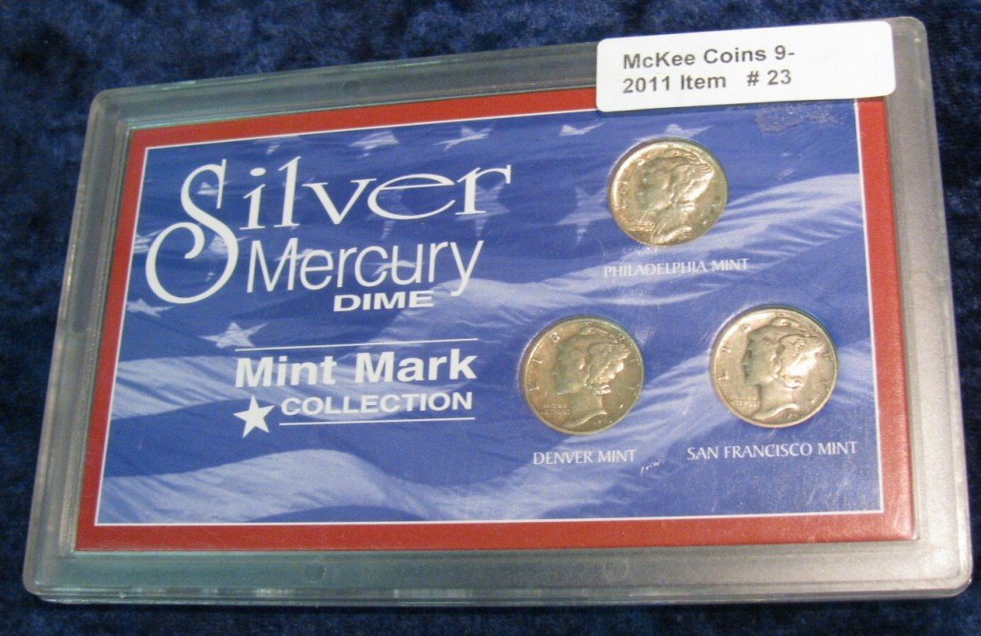 "23. Three-Piece Set ""Silver Mercury Dimes"" Mint Mark Co"