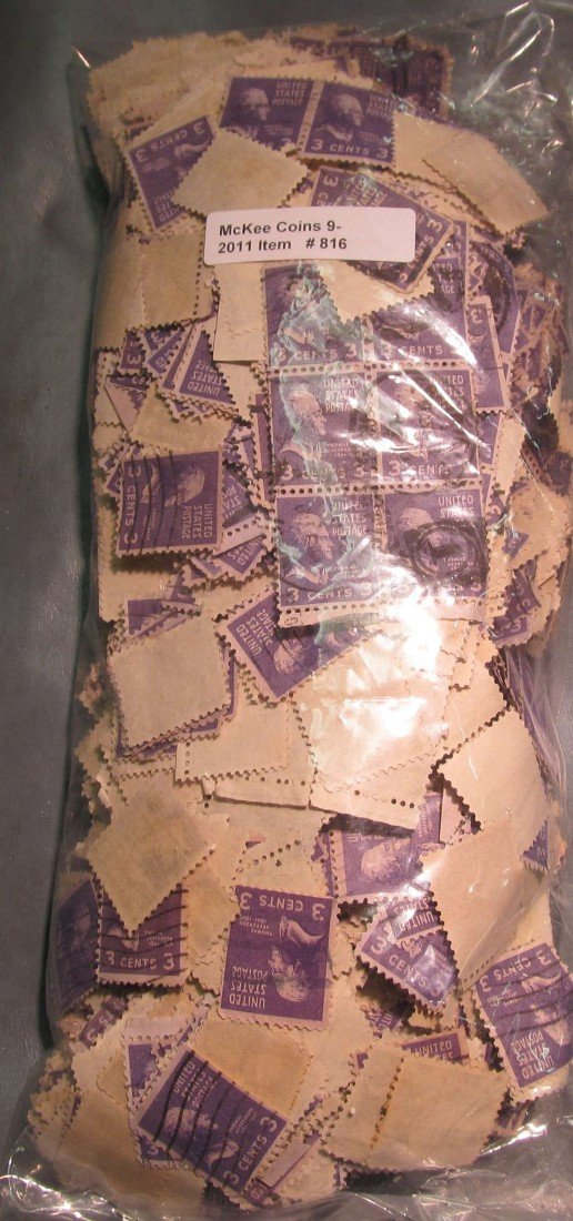 816. Bag of 100's of #807 3c Jefferson Stamps.
