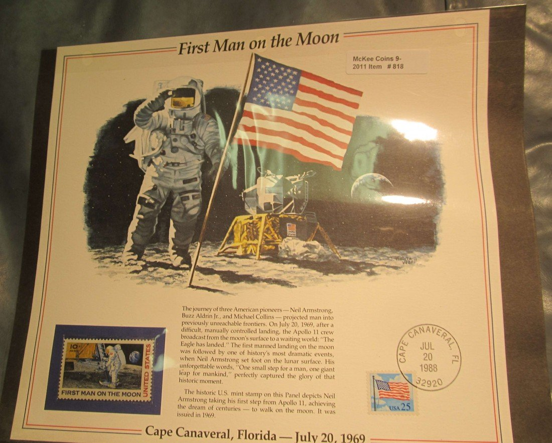 818. 1988 First Man on the Moon Stamp and Panel.