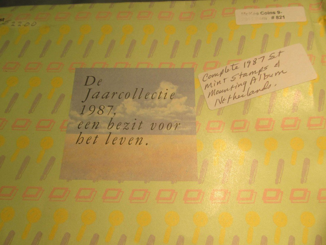 821. 1987 Netherlands Commemorative Stamp Set.