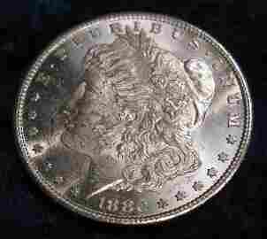 1605. 1880 S U.S. Morgan Silver Dollar. Brilliant MS 63